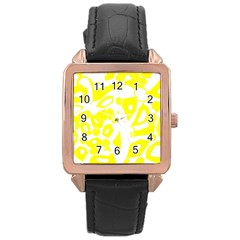 yellow sunny design Rose Gold Leather Watch