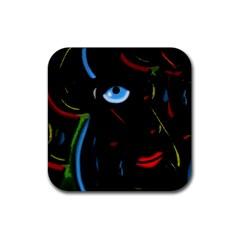 Black magic woman Rubber Coaster (Square)