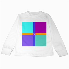 Right Angle Squares Stripes Cross Colored Kids Long Sleeve T Shirts