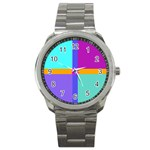 Right Angle Squares Stripes Cross Colored Sport Metal Watch Front