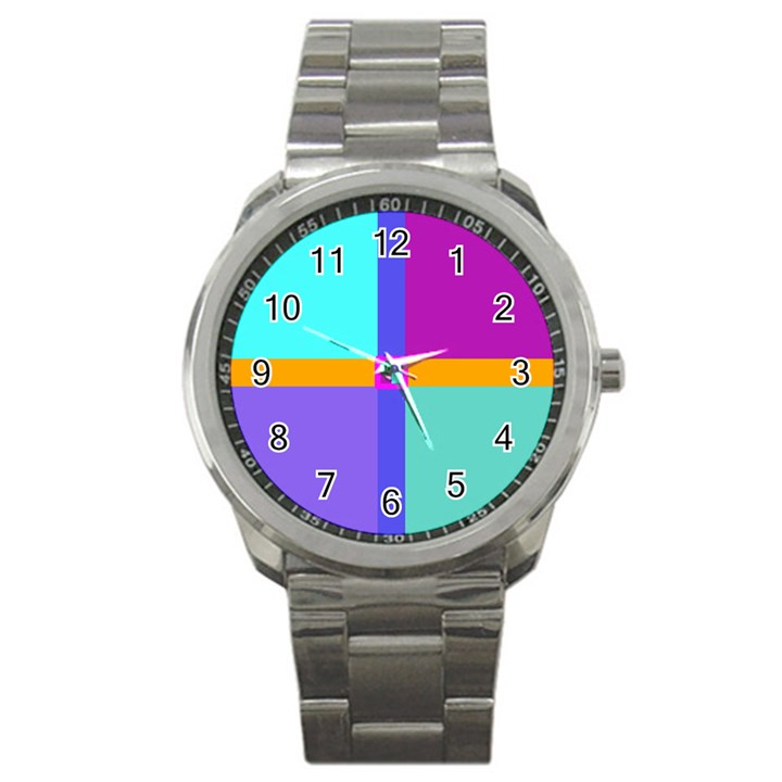 Right Angle Squares Stripes Cross Colored Sport Metal Watch