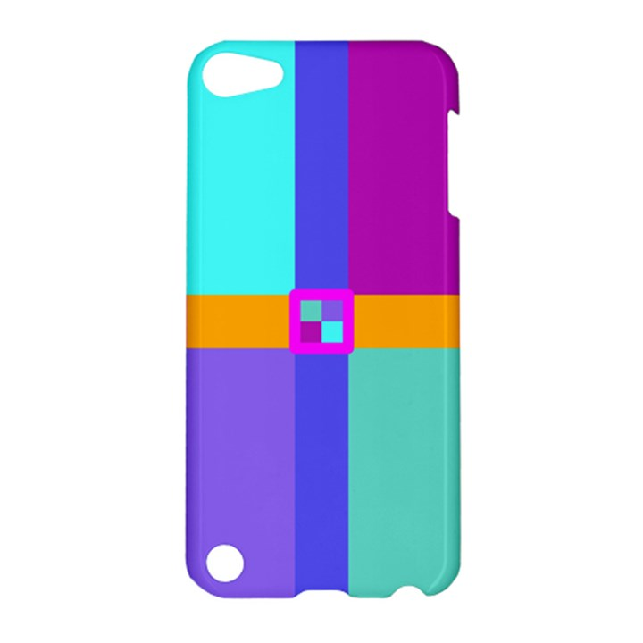 Right Angle Squares Stripes Cross Colored Apple iPod Touch 5 Hardshell Case
