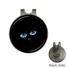 Halloween - black cat - blue eyes Hat Clips with Golf Markers