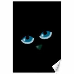 Halloween - black cat - blue eyes Canvas 24  x 36