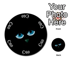 Halloween - black cat - blue eyes Playing Cards 54 (Round)