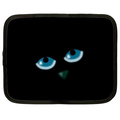 Halloween - black cat - blue eyes Netbook Case (Large)