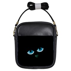 Halloween - black cat - blue eyes Girls Sling Bags