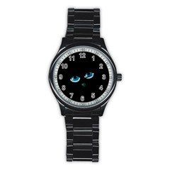 Halloween - black cat - blue eyes Stainless Steel Round Watch