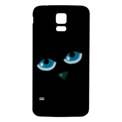 Halloween - black cat - blue eyes Samsung Galaxy S5 Back Case (White)