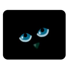 Halloween - black cat - blue eyes Double Sided Flano Blanket (Large)