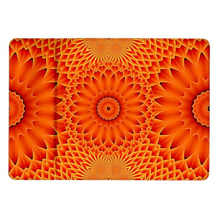 Lotus Fractal Flower Orange Yellow Samsung Galaxy Tab 10.1  P7500 Flip Case