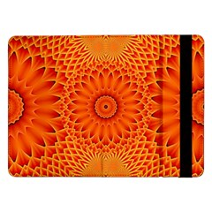 Lotus Fractal Flower Orange Yellow Samsung Galaxy Tab Pro 12 2  Flip Case