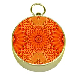Lotus Fractal Flower Orange Yellow Gold Compasses