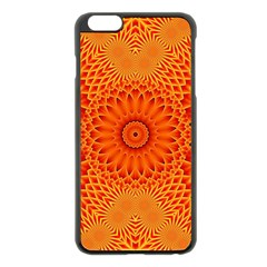 Lotus Fractal Flower Orange Yellow Apple Iphone 6 Plus/6s Plus Black Enamel Case