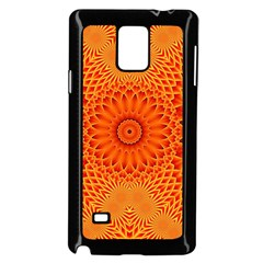 Lotus Fractal Flower Orange Yellow Samsung Galaxy Note 4 Case (black)