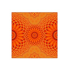 Lotus Fractal Flower Orange Yellow Satin Bandana Scarf
