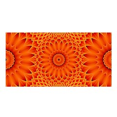 Lotus Fractal Flower Orange Yellow Satin Shawl