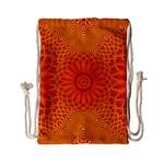 Lotus Fractal Flower Orange Yellow Drawstring Bag (Small) Back