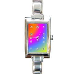 Radial Gradients Red Orange Pink Blue Green Rectangle Italian Charm Watch