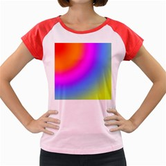 Radial Gradients Red Orange Pink Blue Green Women s Cap Sleeve T Shirt