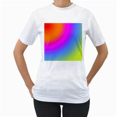 Radial Gradients Red Orange Pink Blue Green Women s T Shirt (white) (two Sided)