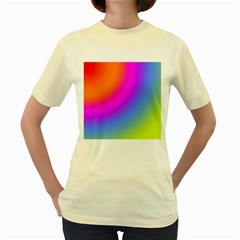 Radial Gradients Red Orange Pink Blue Green Women s Yellow T Shirt