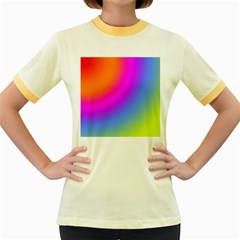 Radial Gradients Red Orange Pink Blue Green Women s Fitted Ringer T Shirts