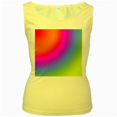 Radial Gradients Red Orange Pink Blue Green Women s Yellow Tank Top