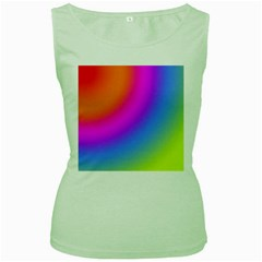 Radial Gradients Red Orange Pink Blue Green Women s Green Tank Top