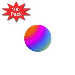 Radial Gradients Red Orange Pink Blue Green 1  Mini Magnets (100 Pack)