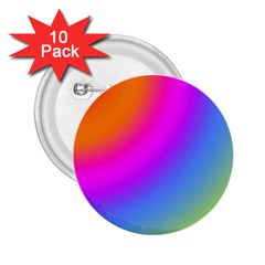 Radial Gradients Red Orange Pink Blue Green 2 25  Buttons (10 Pack)
