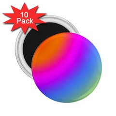 Radial Gradients Red Orange Pink Blue Green 2 25  Magnets (10 Pack)
