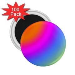 Radial Gradients Red Orange Pink Blue Green 2 25  Magnets (100 Pack)