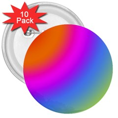 Radial Gradients Red Orange Pink Blue Green 3  Buttons (10 Pack)
