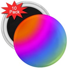 Radial Gradients Red Orange Pink Blue Green 3  Magnets (10 Pack)