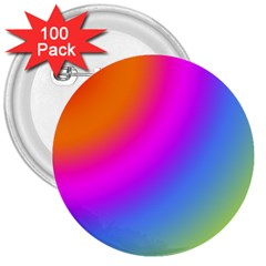 Radial Gradients Red Orange Pink Blue Green 3  Buttons (100 Pack)