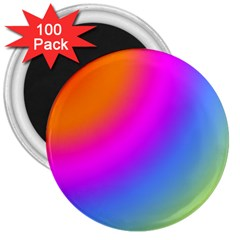 Radial Gradients Red Orange Pink Blue Green 3  Magnets (100 Pack)