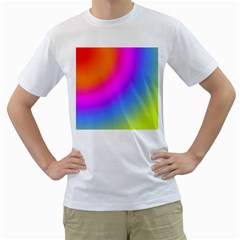Radial Gradients Red Orange Pink Blue Green Men s T Shirt (white) (two Sided)