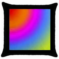 Radial Gradients Red Orange Pink Blue Green Throw Pillow Case (black)