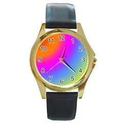 Radial Gradients Red Orange Pink Blue Green Round Gold Metal Watch