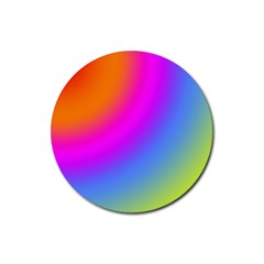 Radial Gradients Red Orange Pink Blue Green Rubber Coaster (round)