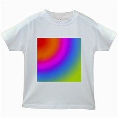 Radial Gradients Red Orange Pink Blue Green Kids White T Shirts