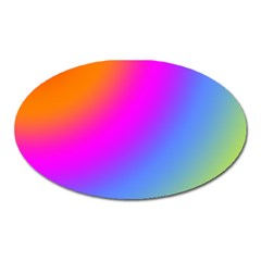 Radial Gradients Red Orange Pink Blue Green Oval Magnet