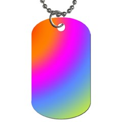 Radial Gradients Red Orange Pink Blue Green Dog Tag (one Side)