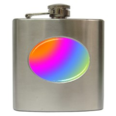 Radial Gradients Red Orange Pink Blue Green Hip Flask (6 Oz)