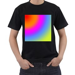 Radial Gradients Red Orange Pink Blue Green Men s T Shirt (black) (two Sided)