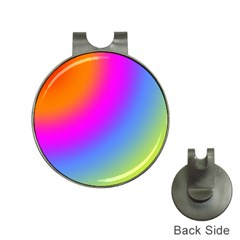 Radial Gradients Red Orange Pink Blue Green Hat Clips With Golf Markers