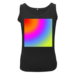Radial Gradients Red Orange Pink Blue Green Women s Black Tank Top