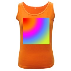 Radial Gradients Red Orange Pink Blue Green Women s Dark Tank Top