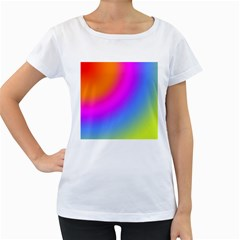 Radial Gradients Red Orange Pink Blue Green Women s Loose Fit T Shirt (white)